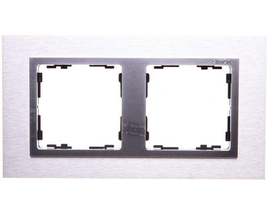 Simon 82 Ramka podwójna metalowa inox mat/ ramka pośrednia aluminium mat 82927-34
