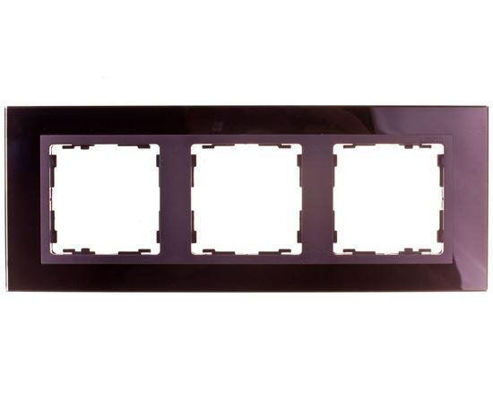 Simon 82 Ramka potrójna pozioma szklana czarna/ ramka pośrednia grafit 82837-32