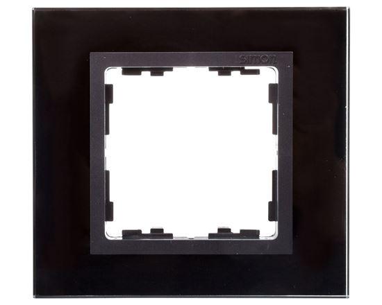 Simon 82 Ramka pojedyncza szklana czarna/ ramka pośrednia grafit 82817-32