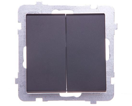 SONATA Przycisk podwójny zwierny czarny metalik ŁP-17R/m/33