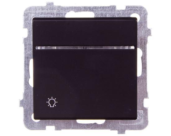 SONATA Przycisk /światło/ z podświetleniem czarny metalik ŁP-5RS/m/33