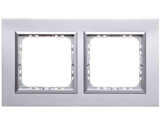 SONATA Ramka podwójna aluminium / srebrna matal R-2RAC/35/38