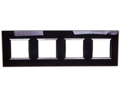 DANTE Ramka poczwórna szkło BLACK GLASS 4509184