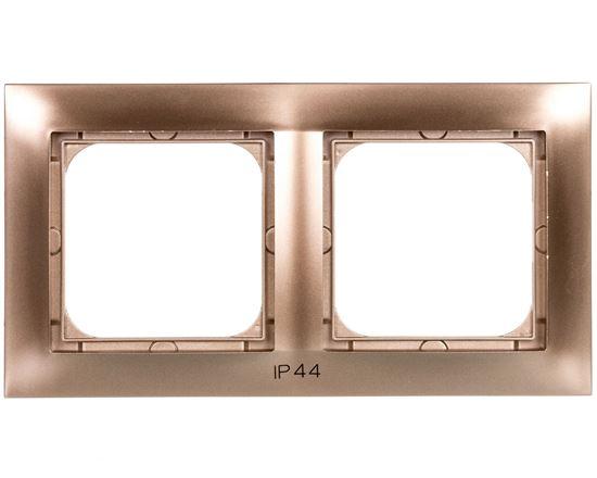 IMPRESJA Ramka podwójna do łączników IP44 złoty metalik RH-2Y/28