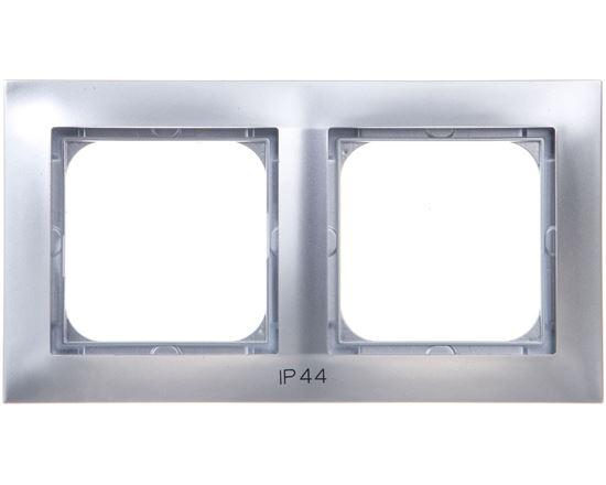 IMPRESJA Ramka podwójna do łączników IP44 srebrna RH-2Y/18