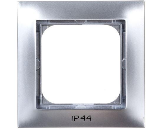 IMPRESJA Ramka pojedyncza do łączników IP44 srebrna RH-1Y/18