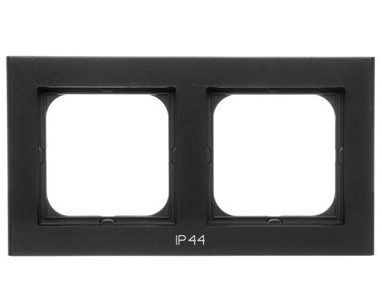 SONATA Ramka podwójna do łączników IP44 czarny metalik RH-2R/33