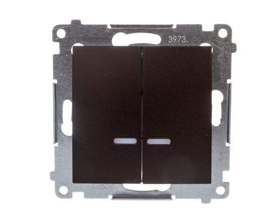 Simon 54 Łącznik bryzgoszczelny świecznikowy IP44 z podświetleniem brąz mat DW5BL.01/46