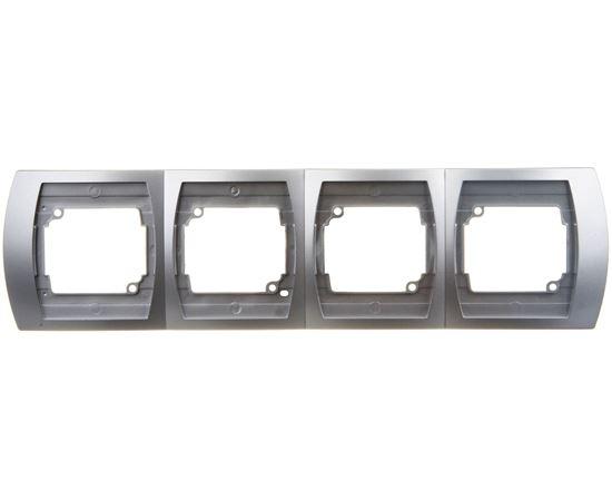 GAZELA Ramka poczwórna pozioma srebro R-4JH/18