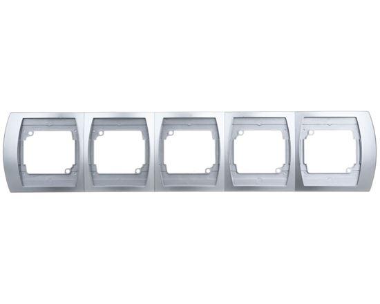 GAZELA Ramka pięciokrotna pozioma srebro R-5JH/18