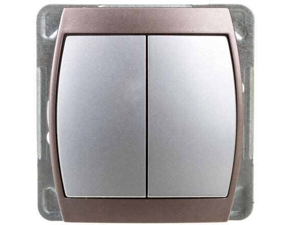 GAZELA Przycisk podwójny zwierny srebro/ tytan ŁP-17J/m/18/23