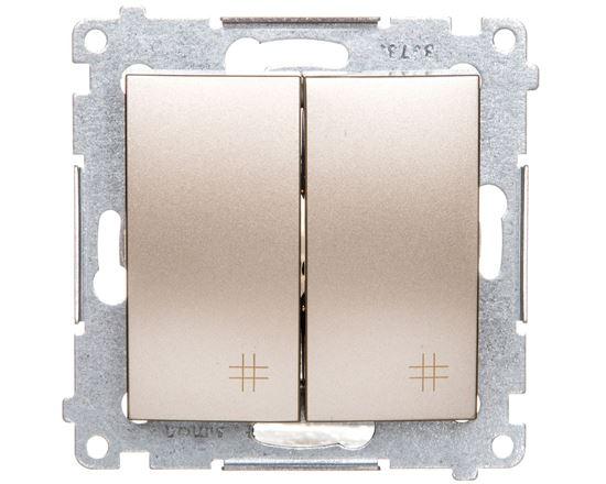 Simon 54 Łącznik krzyżowy podwójny 2 klawisze (moduł) złoty metalik DW7/2.01/44