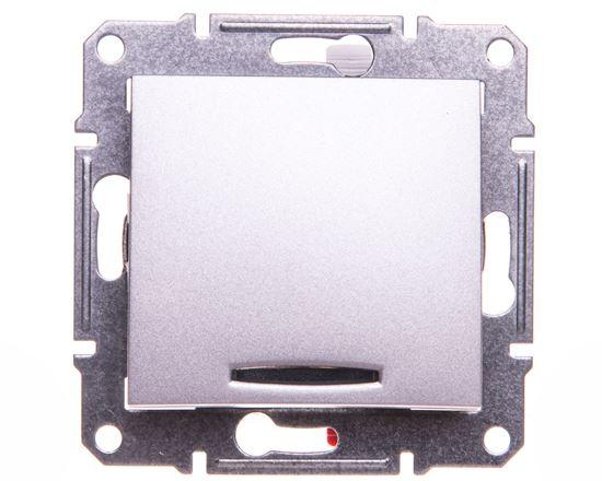 Sedna Przycisk jednobiegunowy 10AX z podświetleniem LED aluminium IP20 SDN1600160