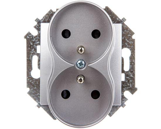 Simon 15 Gniazdo podwójne z/u 16A IP20 z przesłoną torów aluminium metalizowane 1591461-026