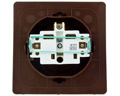 AKCENT Gniazdo bryzgoszczelne z/u IP44 klapka przezroczysta brązowe GPH-1AZ/24/d