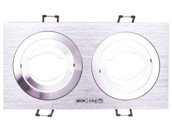 Oprawa punktowa 2x50W GX5,3 IIIkl. 12V IP20 SEIDY CT-DTL250-AL aluminium szczotkowane 18282