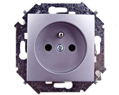 Simon 15 Gniazdo pojedyncze z/u 16A IP20 aluminium metalizowane 1591408-026