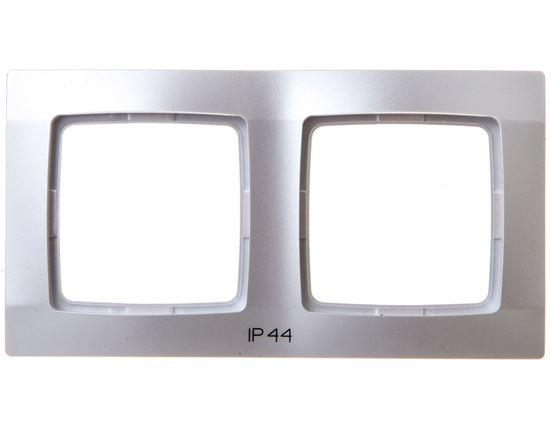 KARO Ramka podwójna do łączników IP44 srebrny perłowy RH-2S/43