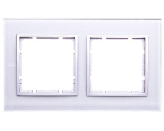 Berker/B.7 Glas Ramka podwójna szkło pozioma szklana aluminium złoty 10126414