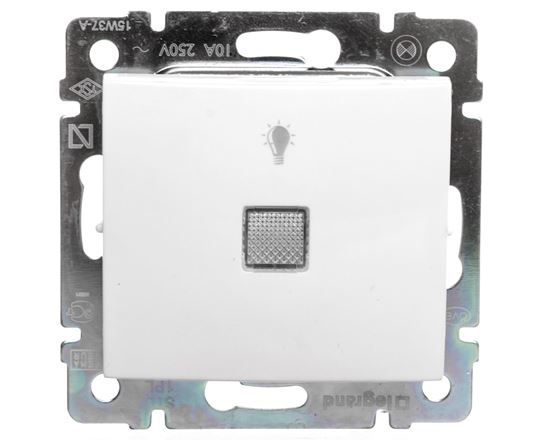 VALENA Przycisk jednobiegunowy z podświetleniem biały 774413