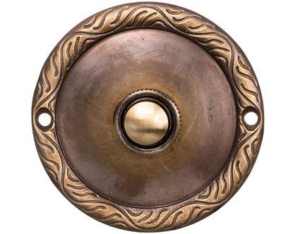 Przycisk /dzwonek/ ozdobny z szyldem okrągłym 1A/50V mosiężny PDM-231-MOS YNS10000023