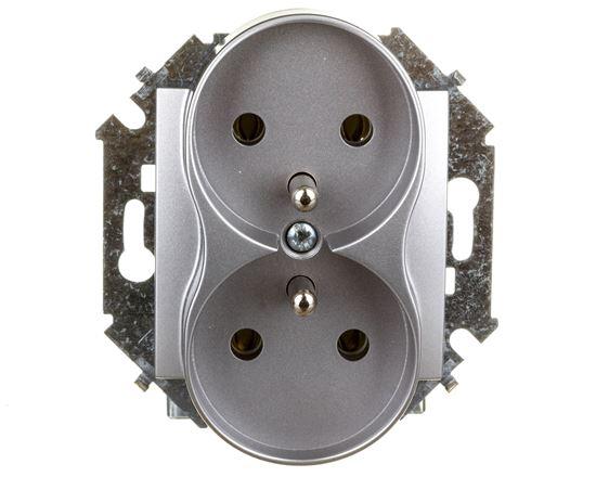 Simon 15 Gniazdo podwójne z/u 16A IP20 aluminium metalizowane 1591462-026