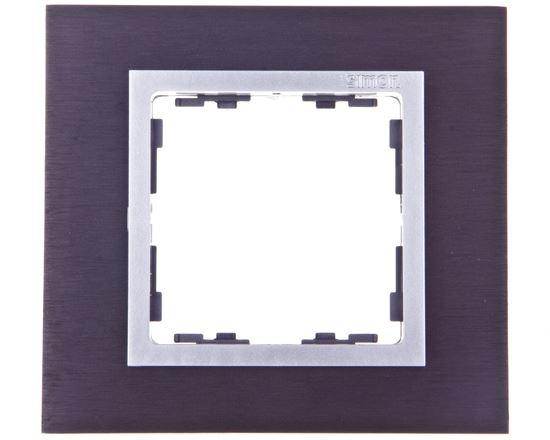 Simon 82 Ramka pojedyncza metalowa inox czarny/ ramka pośrednia aluminium 82917-38