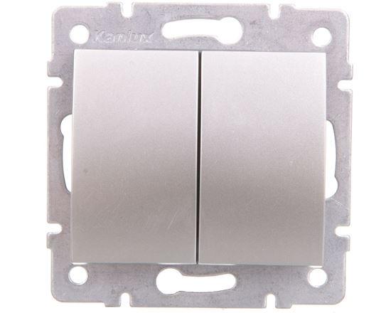 LOGI Łącznik dwugrupowy świecznikowy śrubowy 10AX 250V srebrny 021010143 25185