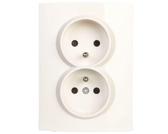LOGI Gniazdo podwójne kompletne ochrona styków śrubowy Biały 16A 250V 021260102 25093