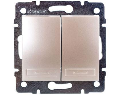 DOMO Łącznik dwugrupowy świecznikowy szybkozłączka 10AX 250V perłowy biały 011010230 24948