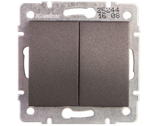 LOGI Łącznik dwugrupowy świecznikowy śrubowy 10AX 250V grafit 021010141 25244