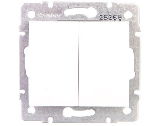 LOGI Łącznik dwugrupowy świecznikowy śrubowy 10AX 250V biały 021010102 25066