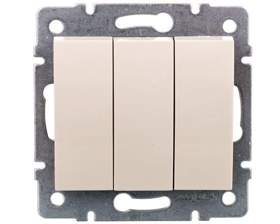 LOGI Łącznik potrójny śrubowy 10AX 250V kremowy 021090103 25136