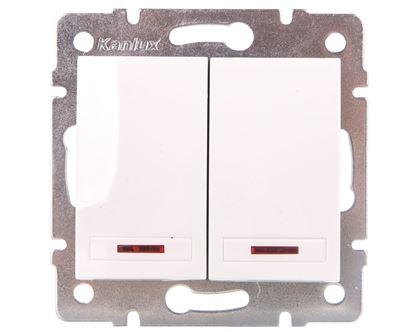 DOMO Łącznik dwugrupowy świecznikowy z LED szybkozłączka 10AX 250V biały 011120202 24724