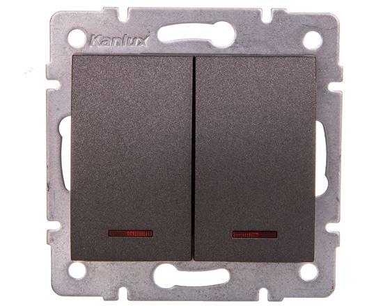 LOGI Łącznik dwugrupowy świecznikowy z LED śrubowy 10AX 250V grafit 021120141 25257