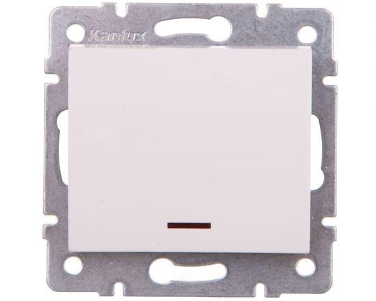 LOGI Łącznik jednobiegunowy z LED śrubowy 10AX 250V biały 021110102 25078