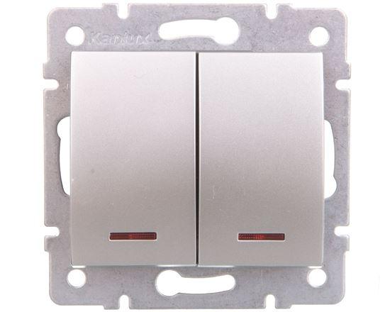 LOGI Łącznik zwierny podwójny LED śrubowy 10AX 250V srebrny 021023143 25189
