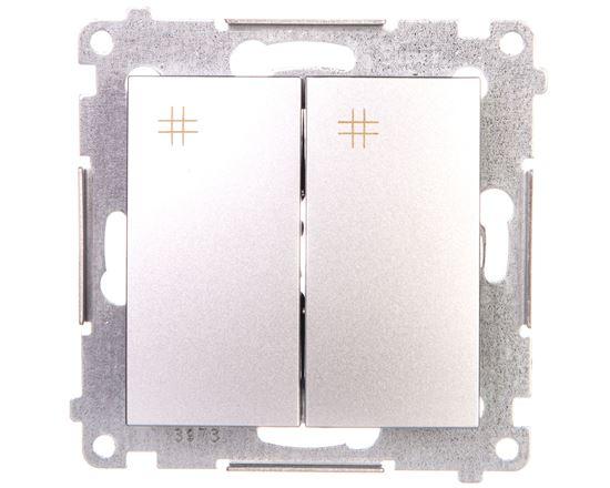 Simon 54 Łącznik krzyżowy podwójny 10A 230V IP20 srebrny mat DW7/2.01/43