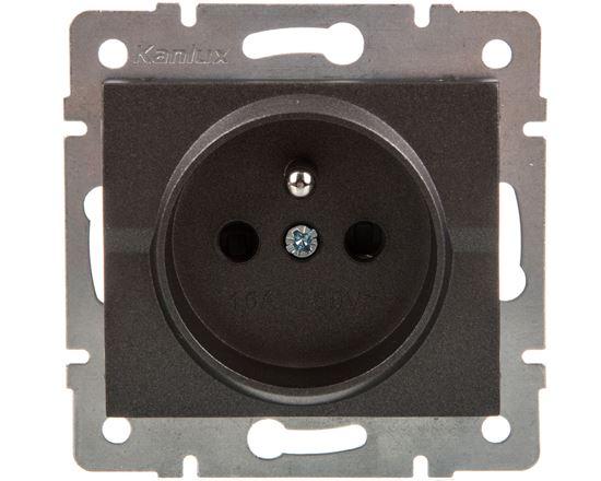 LOGI Gniazdo pojedyncze ochrona styków śrubowy Grafit 16A 250V 021250141 25267