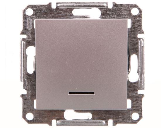 ASFORA Łącznik 1-biegunowy z podśw. (śrub.) bez ramki aluminium EPH1400361