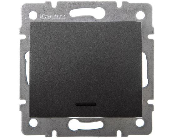 LOGI Łącznik jednobiegunowy z LED śrubowy 10AX 250V grafit 021110141 25256