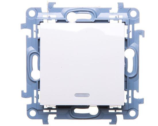 Simon 10 Przycisk pojedynczy z podświetleniem LED biały CP1L.01/11