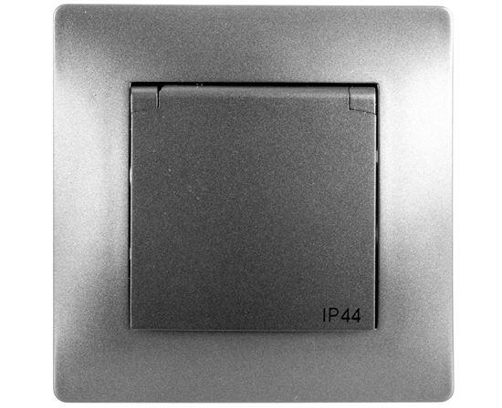 VOLANTE Gniazdo pojedyncze z/u 16A 230V IP44 grafitowe 2636-08