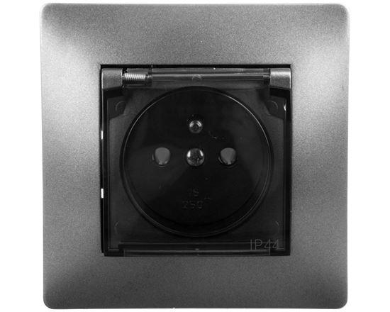 VOLANTE Gniazdo pojedyncze z/u 16A 230V IP44 grafitowe, klapka dymna 2666-08