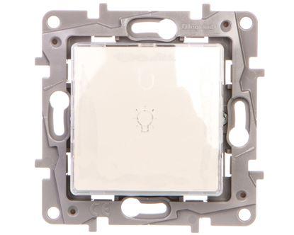 NILOE Przycisk przełączny 6A z transparentnym uchwytem etykiety biały 664315
