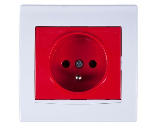Anya Gniazdo pojedyncze z/u 16A IP20 czerwone z białą ramką AYA2800421