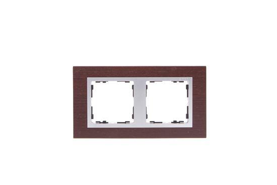 Simon 82 Ramka podwójna pozioma drewniana wenge/ ramka pośrednia aluminium mat 82927-65