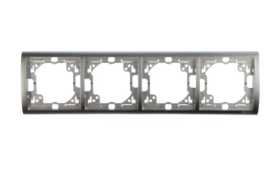 Simon Classic Ramka poczwórna pozioma aluminium metalizowane MR4/26