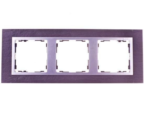 Simon 82 Ramka potrójna pozioma kamień łupek/ ramka pośrednia aluminium mat 82937-63
