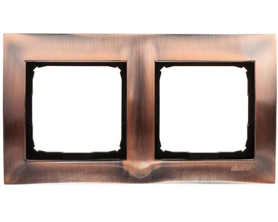 Simon 54 Premium Ramka podwójna metalowa miedź rustykalna DR2/36